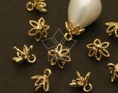 CP-037-GD / 8 Pcs - Flower (8 petal) Bead cap with peg, Gold Plated over Brass / 6.5mm