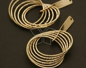 PD-414-GD / 2 Pcs - Faceted Multi Ring Pendant, 16K Gold Plated over Brass / 28mm x 48mm