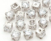 RD-003-OR / 10 Pcs - Square Cubic Zirconia Stone Beads, Silver Plated over Brass / 4mm x 4mm