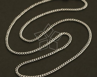 SV-097-OR / 1 Pcs - Sterling Silver 1.7mm Chain Necklaces (165s), Tarnish Resistant .925 Sterling Silver / 16 inches