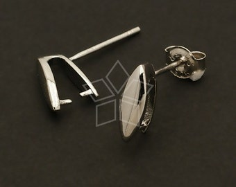 SI-171-OR / 4 Pcs -  Prong Bail Earring Findings, Silver Plated over Brass Body with 925 Sterling Silver Post / 3mm x 10mm
