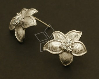 SI-389-MS / 2 Pcs - Tropic Flower Earrings, Matte Silver Plated, with .925 Sterling Silver Post / 17mm x 14mm