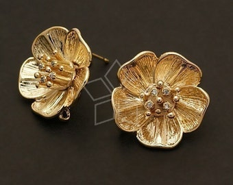 SI-337-GD / 2 Pcs - Big Flower Earring Findings, Gold Plated over Brass Body with .925 Sterling Silver Post / 18mm