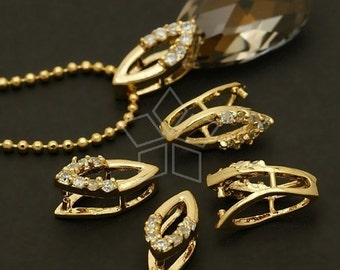 PS-042-GD / 2 Pcs - Bail (CZ Marquis) for Necklace, 16K Gold Plated over Brass / 6mm x 14mm