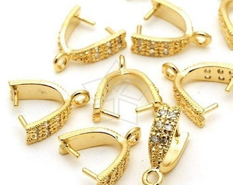 PS-035-GD / 4 Pcs - Large C-type with CZ Stone Detail, 16K Gold Plated over Brass / 4mm x 12mm