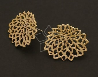 SI-317-MG / 2 Pcs - Provence Earring Findings, Matte Gold Plated over Brass Body with, .925 Sterling Silver Post / 20mm x 17mm