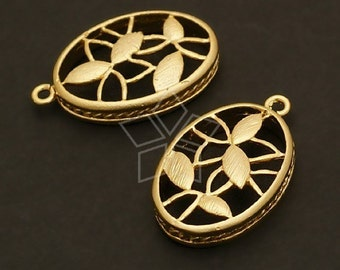 PD-138-MG / 4 Pcs - Flower in Oval Pendant, Matte Gold Plated over Brass / 14mm x 22mm