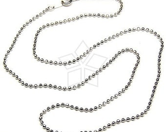 SV-085-OR / 1 Pcs - Sterling Silver 1.2mm Chain Necklaces (Cutting Balls), Tarnish Resistant .925 Sterling Silver / 16 inches