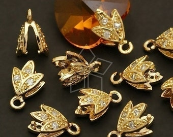 PS-049-GD / 2 Pcs - Sprout Pinch Bail with CZ Stone Detail, 16K Gold Plated over Brass / 6mm x 10mm