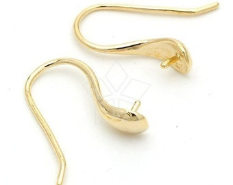 SI-106-GD / 2 Pcs - Hook Ear Wires For Half-drilled Pearl and Gems, 16K Gold Vermeil over .925 Sterling Silver / 18mm