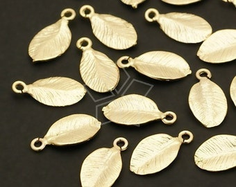 AC-181-MG / 10 Pcs - Cute Leaf Charms, Matte Gold Plated over Brass / 6mm x 11mm