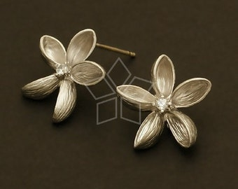 SI-404-MS / 2 Pcs - Windmill Flower Earrings, Matte Silver Plated, with .925 Sterling Silver Post / 16mm x 16mm