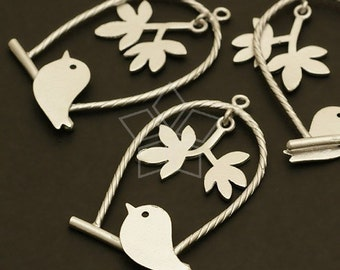 PD-198-MS / 2 Pcs - Skylark on the swing Pendant, Matte Silver Plated over Brass / 19mm x 33mm