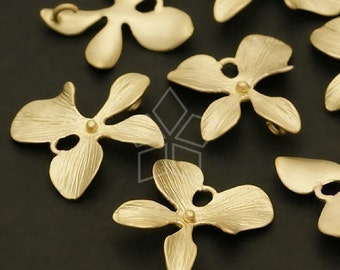 AC-315-MG / 4 Pcs - Orchid Floret Connector, M-Size, Matte Gold Plated over Brass / 14mm x 16mm