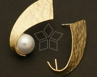 SI-365-MG / 2 Pcs - Canvas Hook Earring, Matte Gold Plated, with .925 Sterling Silver Post / 17mm x 27mm