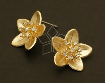 SI-407-MG / 2 Pcs - Jewel Stamen Flower Earrings, Matte Gold Plated, with .925 Sterling Silver Post / 16mm x 16mm