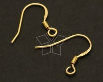 SV-007-GD / 10 Pcs - French Spring Hook Ear Wires, 16K Gold Vermeil over .925 Sterling Silver / 15mm