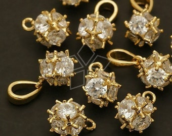 PD-017-GD / 2 Pcs - Cubic Ball Charm, 16K Gold Plated over Brass / 8mm