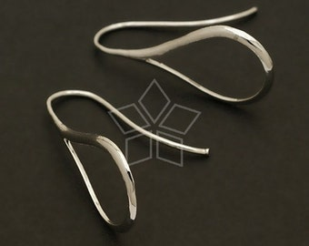 EA-045-OR / 2 Pcs - Linear Drop Hook Ear Wires, Silver Plated over Brass / 13mm x 29mm