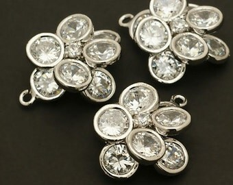PD-112-OR / 2 Pcs - Luxe Stone Flower (Crystal) Pendant, Silver Plated over Brass Body / 17mm x 19mm