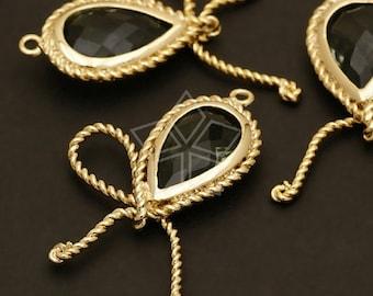 PD-212-GD / 2 Pcs - Pear Cut Ribbon (Black Diamond) Pendant, 16K Gold Plated over Brass / 19mm x 30mm
