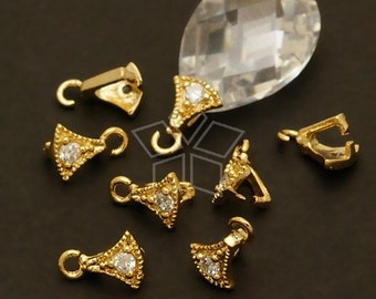 PS-057-GD / 4 Pcs - Axe Pinch Bail with CZ Stone Detail, 16K Gold Plated over Brass / 4mm x 6mm