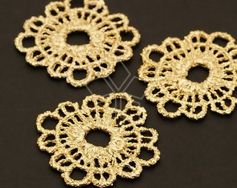 AC-360-MG / 2 Pcs - Lace Round Pendant, Matte Gold Plated over Pewter / 26mm x 26mm