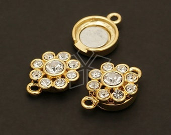 CS-010-GD / 2 Pcs - Flower Magnetic Clasp, 16K Gold Plated over Brass / 13mm