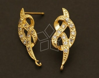 SI-052-GD / 2 Pcs - Jewel Knot Earring Findings, Gold Plated, with .925 Sterling Silver Post / 13mm x 23mm