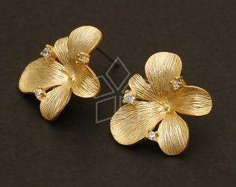 SI-392-MG / 2 Pcs - Orchid Floret Earrings, Matte Gold Plated, with .925 Sterling Silver Post / 16mm x 18mm