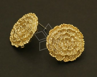 SI-433-MG / 2 Pcs - Marigold Flower Earrings, Matte Gold Plated, with .925 Sterling Silver Post / 17mm