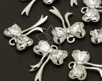 PD-127-OR / 2 Pcs - Sweet Ribbon Pendant (Small), Silver Plated over Brass / 12mm x 16mm
