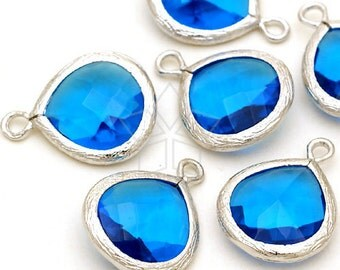 PD-251-OR / 2 Pcs - NEW Fancy Drop Pendant (Capri Blue), Silver Plated over Brass / 13mm x 17mm
