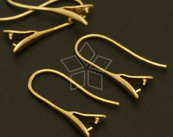 EA-075-GD / 4 Pcs - Pinch Bail Hook Earrings (Medium-Size), 16K Gold Plated over Brass / 21mm