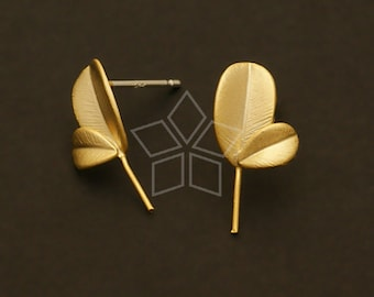 SI-460-MG / 4 Pcs - Sprout Earring Findings, Matte Gold Plated, with .925 Sterling Silver Post / 8mm x 10mm