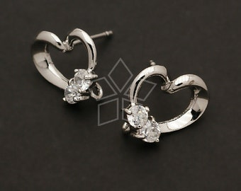 SI-178-OR / 2 Pcs - Lovely Heart Earrings, Silver Plated over Brass Body with .925 Sterling Silver Post / 11mm x 13mm