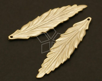 PD-274-MG / 2 Pcs - Blade Leaf Pendant, Matte Gold Plated over Brass / 9mm x 34mm