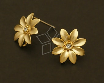 SI-466-MG / 2 Pcs - Little Flower Earrings, Matte Gold Plated, with .925 Sterling Silver Post / 13mm