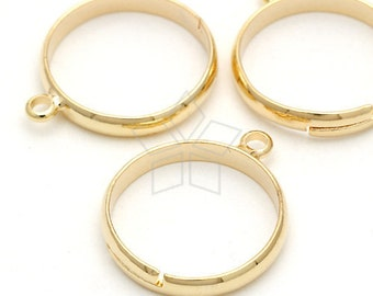 RR-002-GD / 4 Pcs - One Loop Ring Base (Adjustable), Gold Plated over Brass / Free Size