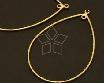 AC-122-MG / 4 Pcs - Wire Teardrop Pendant (M-size), Matte Gold Plated over Brass / 33mm x 52mm