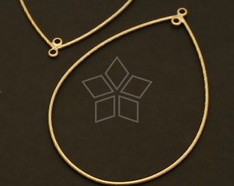 AC-292-MG / 4 Pcs - Wire Teardrop Pendant (L-size), Matte Gold Plated over Brass / 42mm x 62mm