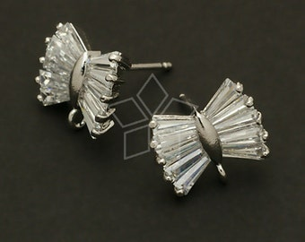 SI-192-OR / 2 Pcs - Cubic Bow Tie Earring Findings, Silver Plated, with .925 Sterling Silver Post /  13mm x 11mm
