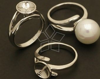 RR-007-OR / 2 Pcs - 9.5mm Pearl Cup Ring Base (Adjustable), Silver Plated over Brass / Free Size