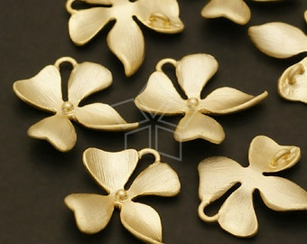 AC-406-MG / 4 Pcs - Wild Orchid Floret Connector, S-Size, Matte Gold Plated over Brass / 15mm x 14mm