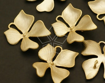 AC-408-MG / 4 Pcs - Wild Orchid Floret Connector, M-Size, Matte Gold Plated over Brass / 16mm x 16mm