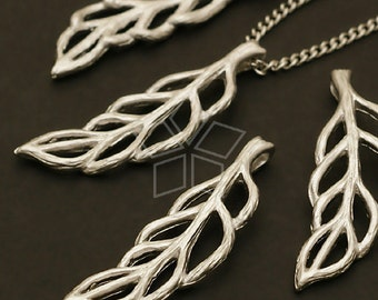 PD-317-MS / 2 Pcs - Leaf Vein Pendant, Matte Silver Plated over Brass / 8mm x 26mm