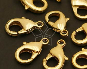 CS-018-GD / 10 Pcs - Solid Brass Lobster Clasp (M-Size), Gold Plated over Brass / 15mm x 9mm