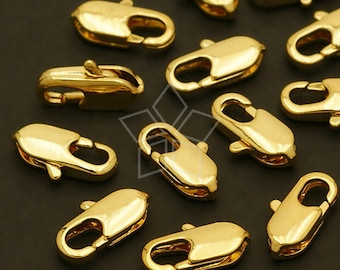 CS-032-GD / 10 Pcs - Slim and Solid Brass Lobster Clasp (S-size), 16K Gold Plated over Brass / 10mm x 5mm
