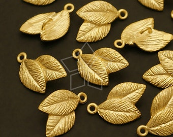 AC-421-MG / 6 Pcs - Double Cute Leaves Connector, Matte Gold Plated over Brass / 8mm x 12mm