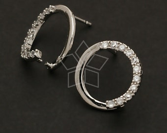 SI-153-OR / 2 Pcs - Cubic Round Pick Earring Findings, Silver Plated over Brass Body with .925 Sterling Silver Post / 14mm
